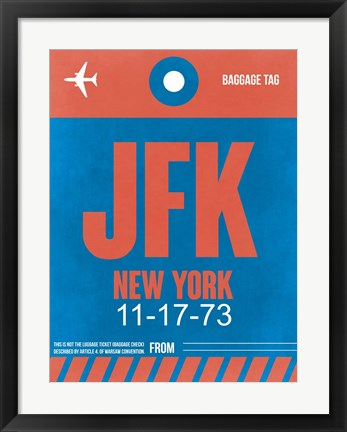 Framed JFK New York Luggage Tag 1 Print