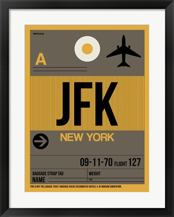 Framed JFK New York Luggage Tag 3 Print