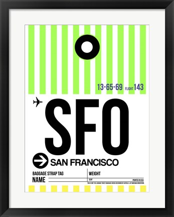 Framed SFO San Francisco Luggage Tag 3 Print