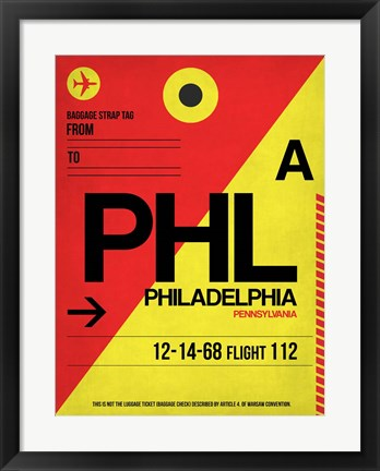 Framed PHL Philadelphia Luggage Tag 2 Print