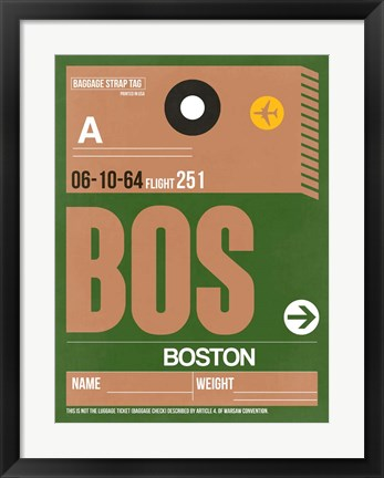 Framed BOS Boston Luggage Tag 2 Print