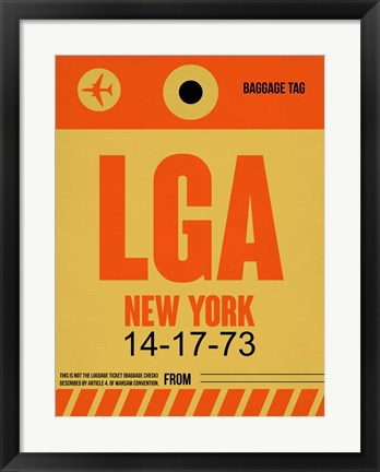Framed LGA New York Luggage Tag 1 Print