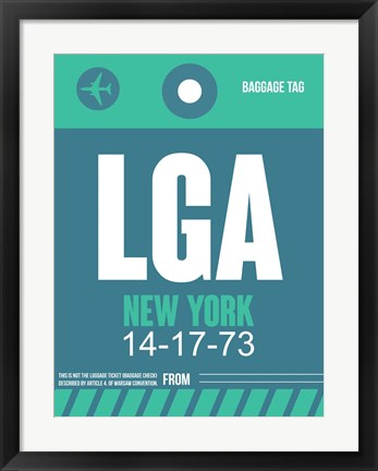 Framed LGA New York Luggage Tag 2 Print