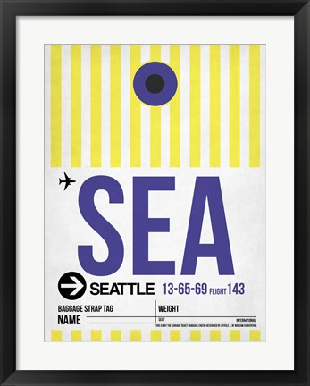 Framed SEA Seattle Luggage Tag 1 Print