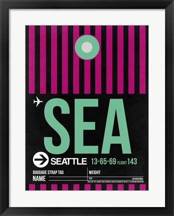 Framed SEA Seattle Luggage Tag 2 Print