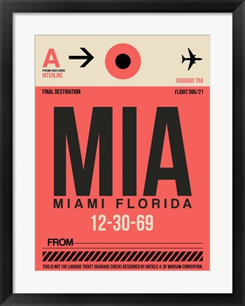 Framed MIA Miami Luggage Tag 1 Print