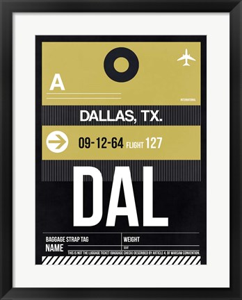 Framed DAL Dallas Luggage Tag 2 Print