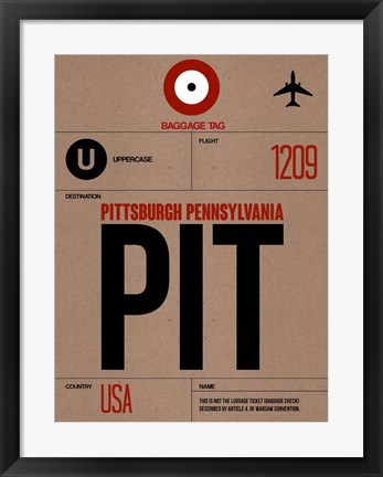 Framed PIT Pittsburgh Luggage Tag 1 Print