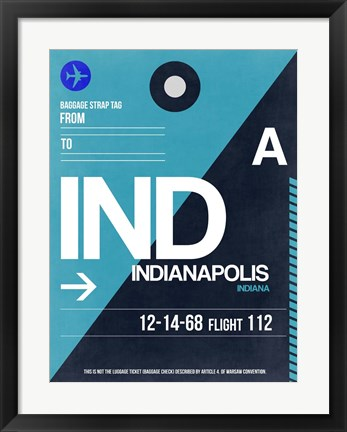 Framed IND Indianapolis Luggage Tag 2 Print
