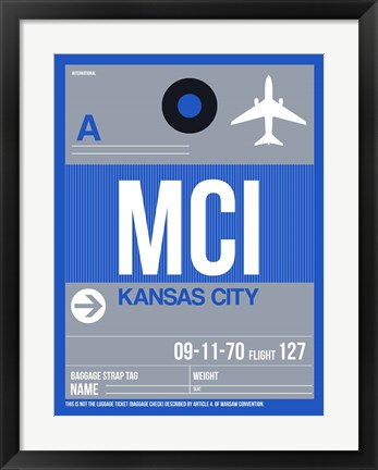 Framed MCI Kansas City Luggage Tag 2 Print