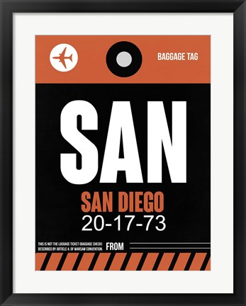 Framed SAN San Diego Luggage Tag 3 Print