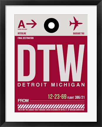 Framed DTW Detroit  Luggage Tag 1 Print