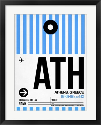 Framed ATH Athens Luggage Tag 1 Print