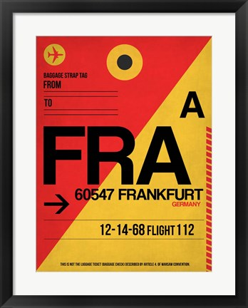 Framed FRA Frankfurt Luggage Tag 2 Print