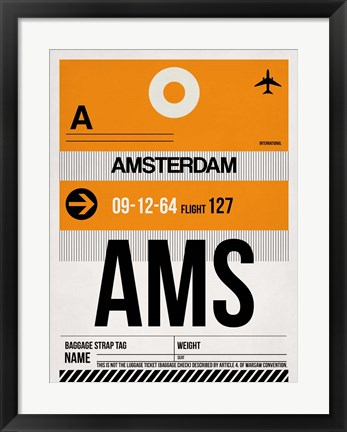 Framed AMS Amsterdam Luggage Tag 2 Print