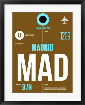 Framed MAD Madrid Luggage Tag 1 Print