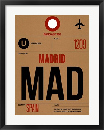 Framed MAD Madrid Luggage Tag 2 Print