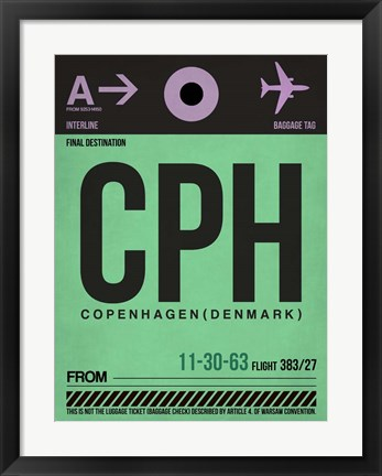 Framed CPH Copenhagen Luggage Tag 1 Print