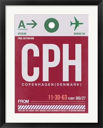 Framed CPH Copenhagen Luggage Tag 2 Print