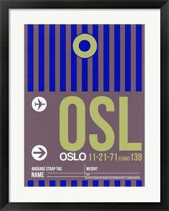 Framed OSL Oslo Luggage Tag 2 Print
