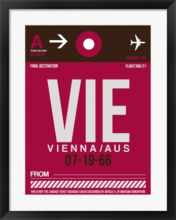 Framed VIE Vienna Luggage Tag 2 Print