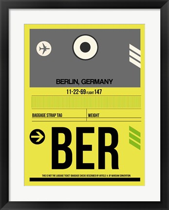 Framed BER Berlin Luggage Tag 1 Print