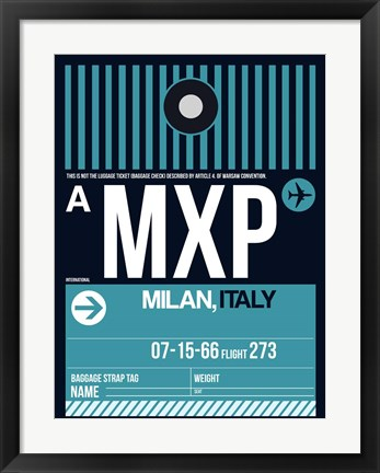 Framed MXP Milan Luggage Tag 2 Print
