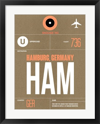 Framed HAM Hamburg Luggage Tag 2 Print