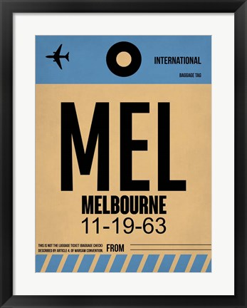 Framed MEL Melbourne Luggage Tag 1 Print