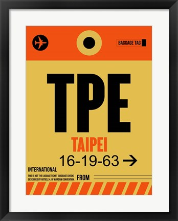 Framed TPE Taipei Luggage Tag 2 Print