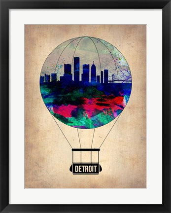 Framed Detroit  Air Balloon Print