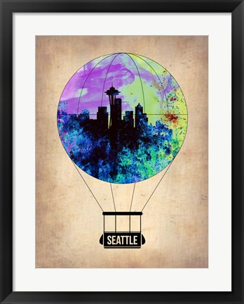 Framed Seattle Air Balloon Print