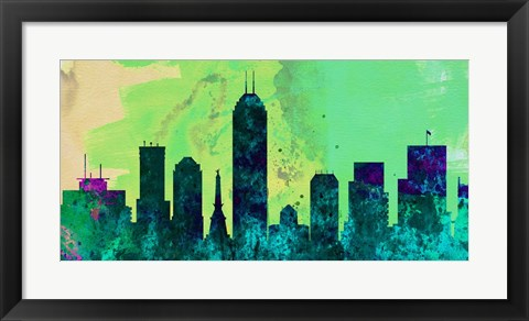 Framed Indianapolis City Skyline Print