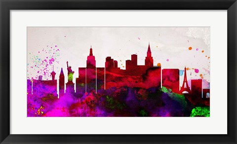 Framed Las Vegas City Skyline Print