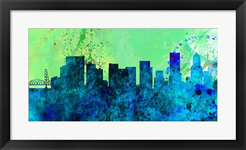 Framed Portland City Skyline Print