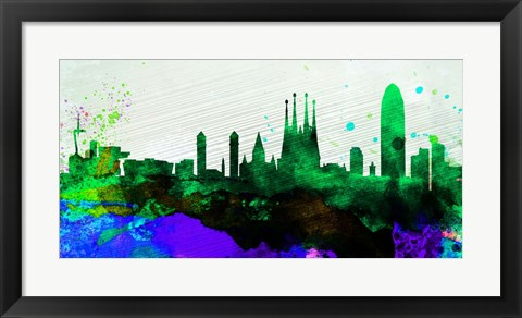 Framed Barcelona City Skyline Print