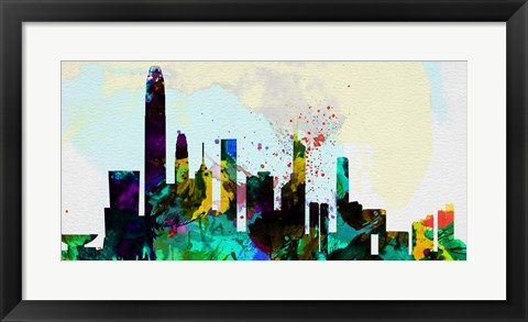 Framed Hong Kong City Skyline Print