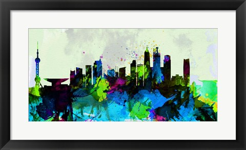 Framed Shanghai City Skyline Print