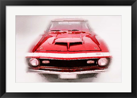Framed 1968 Chevy Camaro Front End Print