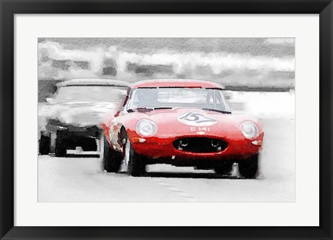 Framed Jaguar E-Type Racing Print