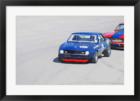 Framed Chevy Camaro on Race Track Print
