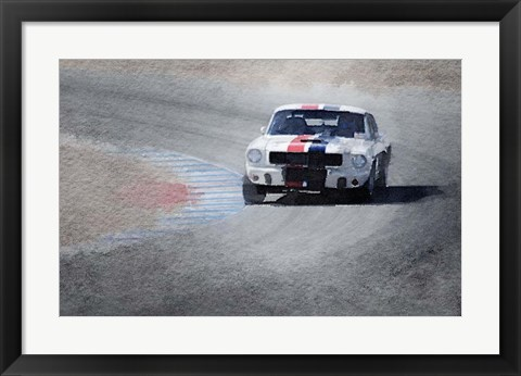Framed Mustang on Race Track Print