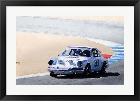Framed White Porsche 911 in Monterey Print