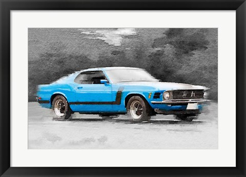Framed 1970 Ford Mustang Boss Blue Print
