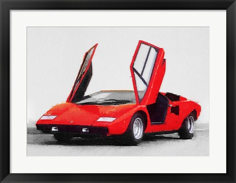 Framed 1974 Lamborghini Countach Open Doors Print