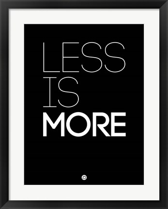 Framed Less Is More Black Print