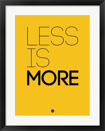 Framed Less Is More Yellow Print