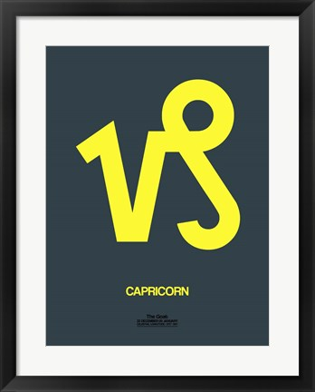 Framed Capricorn Zodiac Sign Yellow Print