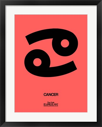 Framed Cancer Zodiac Sign Black Print