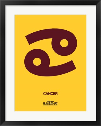 Framed Cancer Zodiac Sign Brown Print